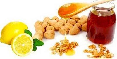 Мед, орехи и лимон