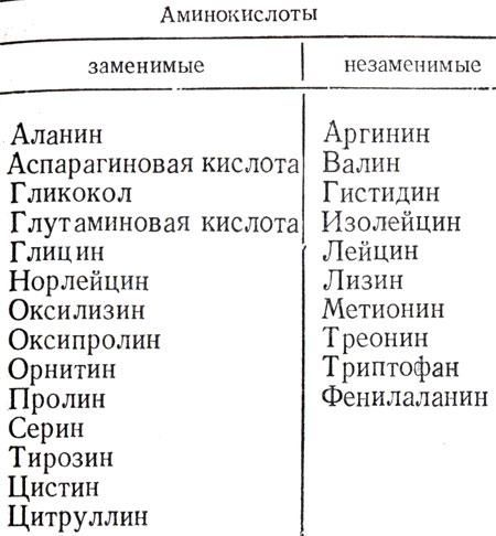 Список аминокислот