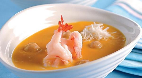 Суп из нута с креветками