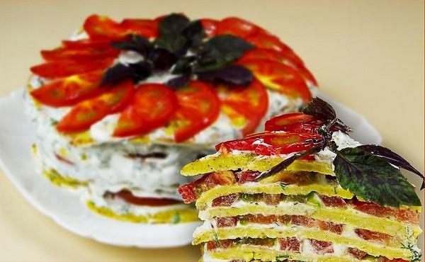 Сырно-кабачковый слоеный пирог