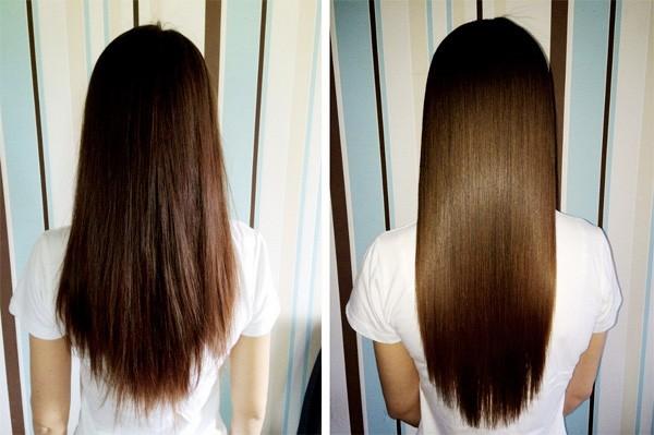 Волосы до и после применения рыбьего жира