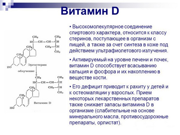 Формула и описание витамина Д