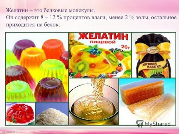 Продукты с желатином