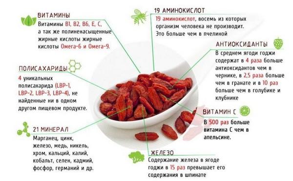 Состав ягод годжи